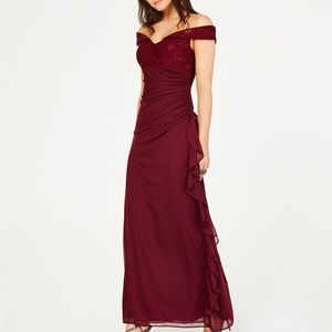 Betsy & Adam Sequined-Lace Ruched Gown Burgundy